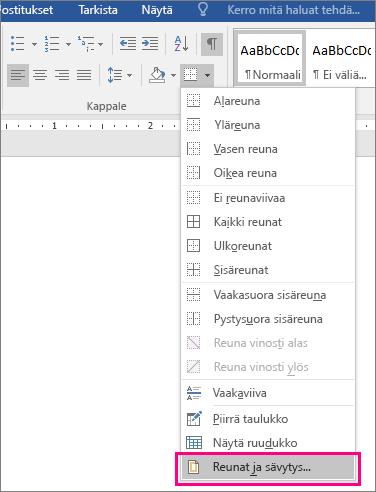 Aloitus-välilehden Reunat ja sävytys -vaihtoehto näkyy korostettuna (Reunat-kohdassa).