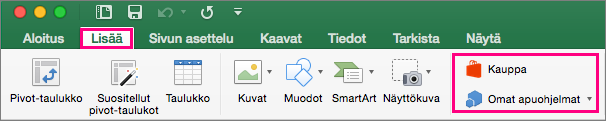 Näyttää Store- ja Omat apuohjelmat -painikkeet Excel 2016 for Macin -valintanauhan Lisää-välilehdessä.