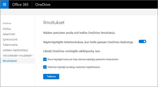 OneDrive-hallintakeskuksen Ilmoitukset-välilehti
