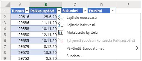 Lajittele nousevaan tai laskevaan järjestykseen Excelin taulukkosuodattimella