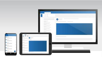 Tietokone, tabletti ja puhelin, joissa näkyy Outlook