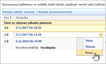 Tiedoston versiotietojen avattava valikko, jossa Poista-vaihtoehto on korostettuna