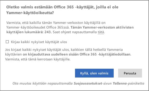 Näyttökuva vahvistusvalintaikkunasta ja Yammer-käyttöoikeudettomien käyttäjien eston aloittamisesta