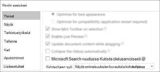 Tiedosto _T_ asetukset-valinta ikkuna, jossa näkyy Kutista Microsoft Search-ruutu oletusarvoisesti-vaihto ehto.