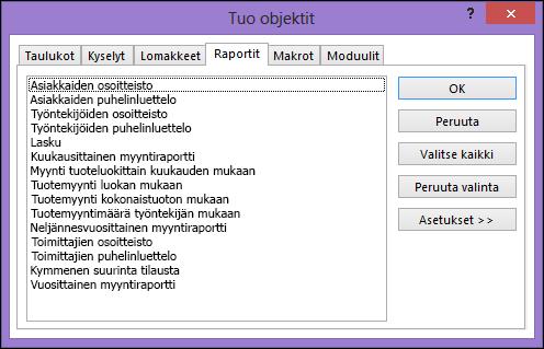 Tuo objektit -valintaikkuna Access-tietokannassa