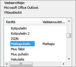 Matkapuhelintieto on nyt yhdistetty Outlookin Matkapuhelin-kenttään