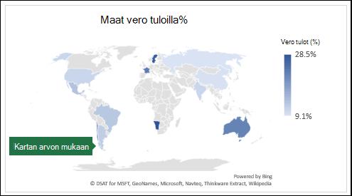 Excel Map-kaavio, jossa näkyy arvoja maiden kanssa vero tuloilla%