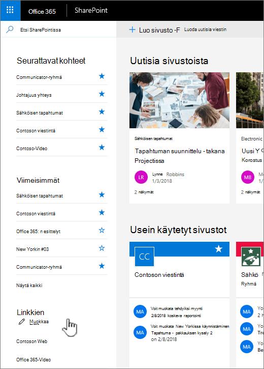 Linkit-luettelo SharePoint online-aloitussivulla