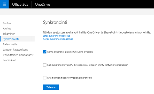 OneDrive-hallintakeskuksen Synkronointi-välilehti