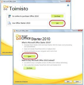 Office Starterin ensimmäinen käyttökerta