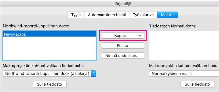 Valitse asiakirjasta makro ja kopioi se sitten valittuun malliin valitsemalla Kopioi.