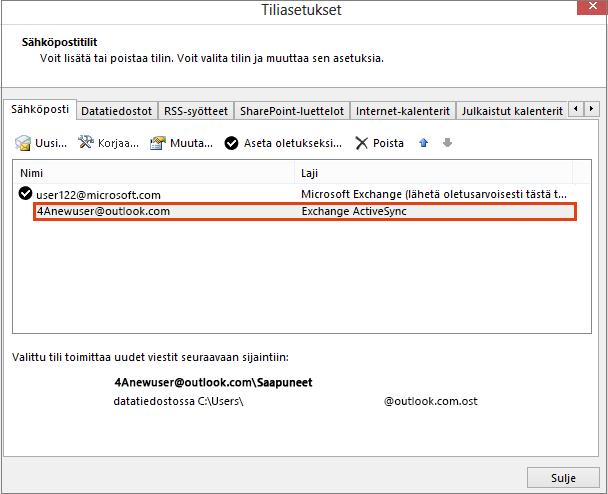 Outlookin tiliasetukset, sähköpostitilit