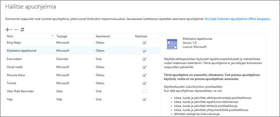 Näyttökuva Apuohjelmien hallinta -ikkunasta, jossa voit lisätä tai poistaa apuohjelmia, tarkastella apuohjelman tietoja ja siirtyä Office-kauppaan etsimään lisää Outlook-apuohjelmia. Ehdotetut kokoukset -apuohjelma on valittuna ja sen tiedot näytetään.