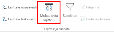 Excelin mukautetut lajitteluasetukset Tiedot-välilehdeltä