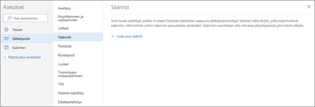 Näyttökuvassa näkyy Outlook.comin sähköpostiasetusten Säännöt-sivu.