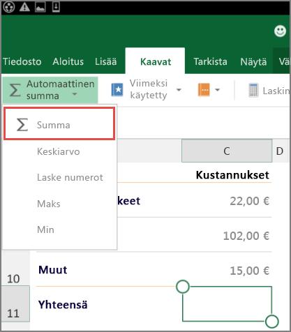 Excel for Androidin valintanauhan avausvalikko