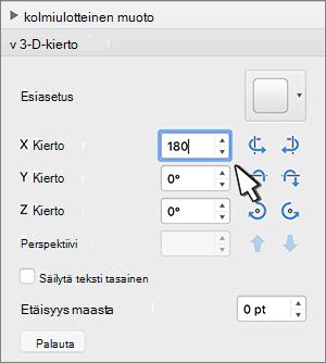 Kolmiulotteinen kierto-osa, jossa X-kierto on valittuna