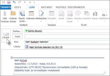 Kalenterin lähettäminen työtoverille sähköpostitse