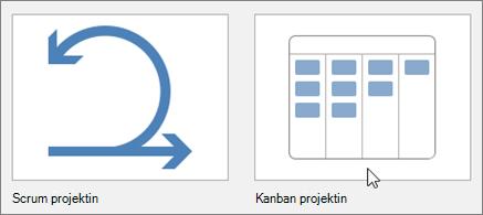 Näyttökuva Scrum-projekti- ja Kanban-projektimalleja edustavista ruuduista