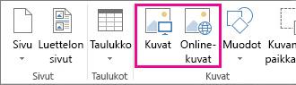 Näyttökuva Publisherin Lisää-valikon Lisää kuvat -vaihtoehdoista.