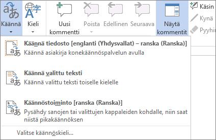 Tiedoston tai viestin kääntäminen