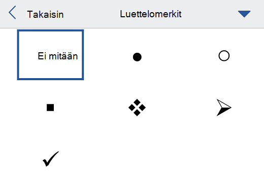 Luettelomerkit-valikko Word for iOS:ssä.