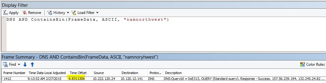 """Suodattimella DNS JA CONTAINSBIN(Framedata, ASCII, """"namnorthwest"""") suodatetut ylimääräiset Netmon-tulokset osoittavat erittäin pienen ajan poikkeaman pyynnön ja vastauksen välillä."""