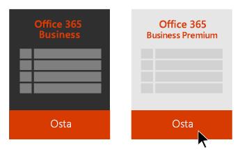 Office 365 Business- ja Office 365 Business Premium -vaihtoehdot ja nuoli, joka osoittaa Office 365 Business Premiumin alapuolella olevaan Osta-painikkeeseen.