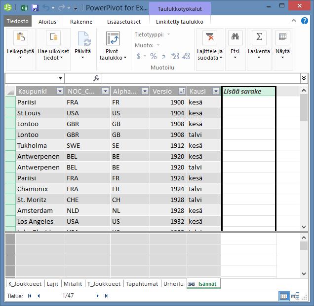 Lasketun sarakkeen luominen DAX-kielen avulla Lisää sarake -valinnalla