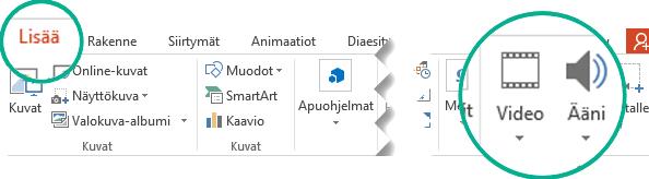 Valitse PowerPoint-työkalurivin valintanauhan Lisää-välilehdessä Ääni tai Video