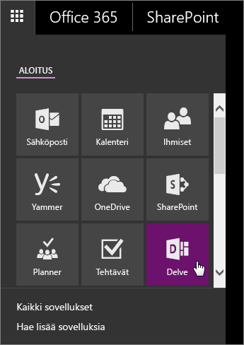 Näyttökuva Office 365:n sovellusruudusta, jossa Delve-ruutu on aktiivinen.