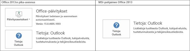Kuvassa näkyy, kuinka voit tarkistaa, onko Office 2013:n asennus pika-asennus vai MSI-pohjainen asennus