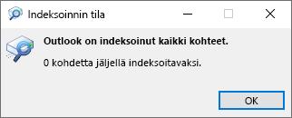 Outlook-haun indeksoinnin tila