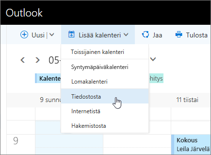 Näyttökuva Lisää kalenteriluettelo -toiminnosta, jossa valittuna Tiedostosta.