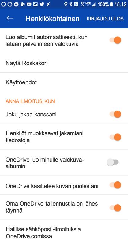 Siirry OneDrive for Android-sovelluksen määrittäminen-ilmoituksen asetukset.
