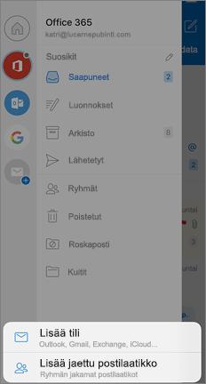 Outlookin asetukset-näyttö, jossa lisää yhteinen posti laatikko-vaihto ehto