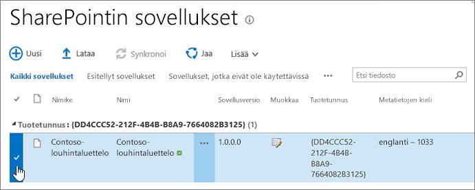 SharePointin apusovellusten sovellushakemisto, jossa sovellus on valittuna