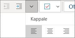 Kappaleiden tasaaminen vasemmalle OneNote for Windows 10 -sovelluksessa