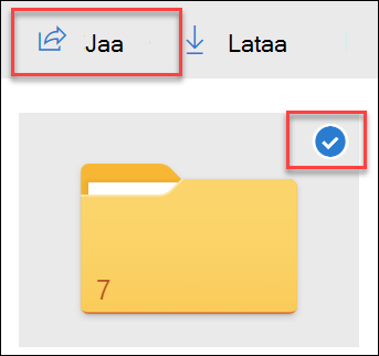 Kuva kansiosta, joka sijaitsee OneDrive ja Jaa-vaihtoehdolla.