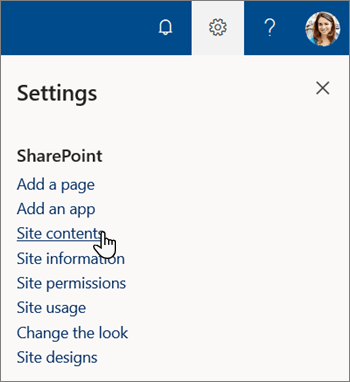 SharePointin Asetukset-valikko, jossa sivuston sisältö on korostettuna