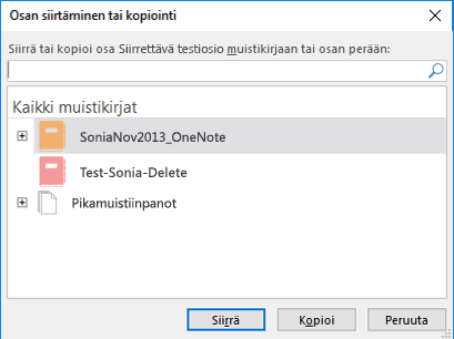 OneNote for Windows 2016:n Siirrä tai kopioi osa -valintaikkuna