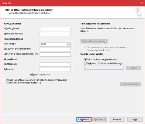 POP- tai IMAP-palvelimesi tietojen antaminen