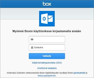 Kun muodostat yhteyttä tallennustilatiliin, sinun on ensin annettava käyttäjänimi ja salasana, jotta Outlook voi käsitellä tiedostojasi.