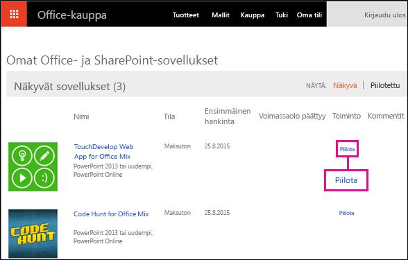 Piilota linkki näkyy korostettuna Office-kaupan apuohjelmien sivulla