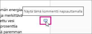 Kommenttien tarkasteleminen Word Onlinessa napsauttamalla