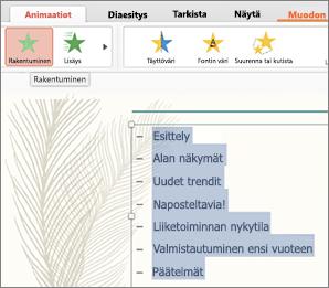 Valitse kaikki dian luettelomerkit ja valitse sitten liikerata-animaatiotehoste