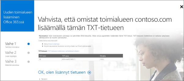 Vahvista toimialueen omistajuus lisäämällä TXT-tietue.