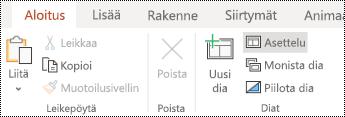 PowerPoint Onlinen Aloitus-välilehden valintanauhan Asettelu-painike.