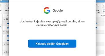 Googlen valintaikkuna, jossa käyttäjää pyydetään kirjautumaan sisään