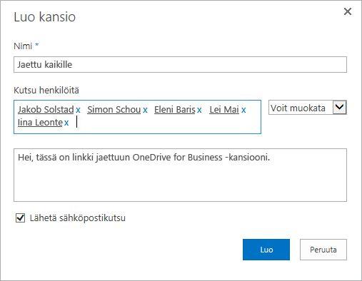 Valintaikkuna, johon luetteloidaan niiden henkilöiden sähköpostiosoitteet, joiden kanssa haluat jakaa OneDrive for Business -kansion.